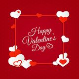 Happy Valentine`s Day abstract background with hearts and letter. Ing. Greeting card. Vector illustration Royalty Free Illustration