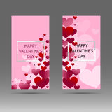 Happy Valentine`s day abstract banner with white, red and pink hearts. Vector background. Stock Images