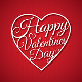 Happy Valentine s day abstract romantic background with congratulation in heart shape on red striped background. Stock Image