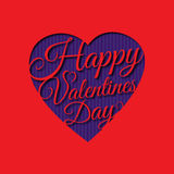 Happy Valentine s day abstract romantic background with cut congratulation in heart shape on red background. Stock Images