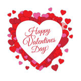 Happy Valentine s day abstract romantic background with cut paper hearts and text in heart frame isolated on white Royalty Free Stock Images
