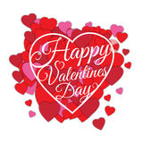 Happy Valentine s day abstract romantic background with many cut paper hearts and text in heart frame isolated on white Stock Photo