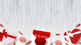 Happy Valentine`s Day Animation background. Moving Composition with gift boxes, red case for ring and serpentine on wooden texture stock video