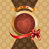 Happy Valentine's Day background with arabesques patterns as background. Happy Valentine's Day background with Happy Valentine's Day text on ribbon and Royalty Free Stock Photography