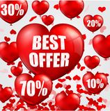 Happy Valentine's Day background with big sale balloons in form of heart Stock Image