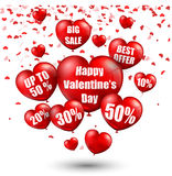 Happy Valentine's Day background with big sale balloons in form of heart Royalty Free Stock Images