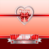 Happy Valentine's Day background with bow ribbon and artistic label heart shaped Royalty Free Stock Photos
