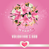 Happy Valentine's day background with flower bouquet Stock Photos