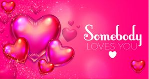Happy Valentine`s Day Background with Flying Glossy Pink Heart Balloons. Vector illustration Royalty Free Stock Photo