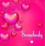 Happy Valentine`s Day Background with Flying Glossy Pink Heart Balloons. Vector illustration Royalty Free Stock Images