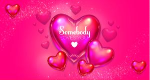 Happy Valentine`s Day Background with Flying Glossy Pink Heart Balloons. Vector illustration Stock Photos