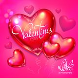 Happy Valentine`s Day Background with Flying Glossy Pink Heart Balloons. Vector illustration Stock Images