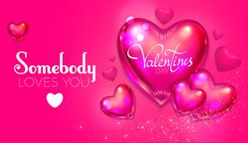 Happy Valentine`s Day Background with Flying Glossy Pink Heart Balloons. Vector illustration Stock Photo