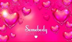 Happy Valentine`s Day Background with Flying Glossy Pink Heart Balloons. Vector illustration Royalty Free Stock Photos