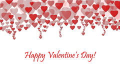 Happy Valentine`s day background. Greeting card. Red hearts . Stock Images