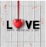 Happy Valentine`s Day background with hanged hearts and bows isolated on wooden texture Royalty Free Stock Photography