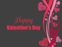 Happy Valentine`s Day background with hearts on a black background. Greeting card. Vector Royalty Free Stock Photo