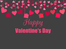 Happy Valentine`s Day. Background with hearts and gifts. Hanging hearts. Vector Royalty Free Stock Image