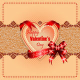 Happy Valentine's Day background with I Love you written on ribbon. Vintage Happy Valentine's Day background with Happy Valentine's Day  text and I Love you on Royalty Free Stock Images