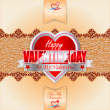 Happy Valentine's Day background with label heart shaped on linen/jute fabric texture Royalty Free Stock Photos