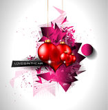 Happy Valentine's Day background with lovely Hearts Stock Photography