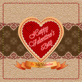 Happy Valentine's Day background with By My Valentine  text on ribbon and linen/arabesques backdrop. Vintage Happy Valentine's Day background with Be My Royalty Free Stock Images