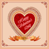 Happy Valentine's Day background with By My Valentine  text on ribbon and ornamental frame Royalty Free Stock Photography