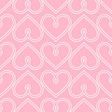 Happy Valentine's Day background. Pink seamless vector heart pattern. Royalty Free Stock Images