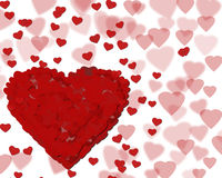 Happy Valentine's day background with red hearts. Romantic illustration Stock Photo