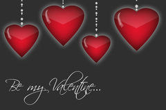 Happy Valentine's day background with red hearts. Romantic illustration with Be my Valentine text Stock Image