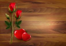 Happy Valentine's Day background. Rose with two hearts. Royalty Free Stock Images