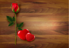 Happy Valentine's Day background. Roses with two hearts. Royalty Free Stock Photo