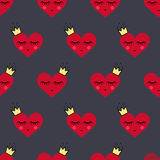 Happy Valentine's Day background. Seamless pattern with smiling sleeping hearts for Valentine's Day. Royalty Free Stock Photography