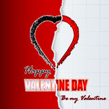 Happy Valentine's Day background with tear cover notebook Stock Photo