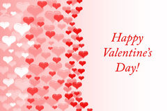 Happy Valentine`s day background with text. Greeting card. Red hearts . Stock Photography