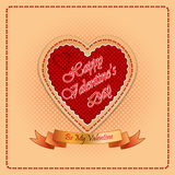 Happy Valentine's Day background with  text on ribbon. Vintage Happy Valentine's Day background with By My Valentine text on ribbon and sewing heart Royalty Free Stock Photography