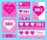 Happy Valentine's Day backgrounds. Set of valentine cards and ba Stock Photos
