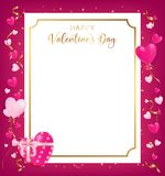 Happy Valentine`s Day banner conception as top view. Position along with heart decor beside boarder and some confettis on ground ,artwork usage in advertising Stock Photos