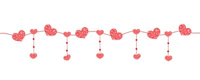 Happy Valentine`s day banner with hearts made of glitter. Brilliant horizontal borders. Romantic shining sparkling. Garlands, bunting. Vector illustration Stock Images