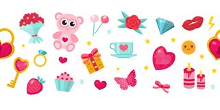 Happy Valentine`s Day banner. Set of cute icons, romance love. Template for your design. Vector illustration. royalty free illustration