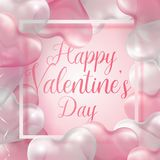 Happy Valentine s day banner template. Pink and white 3d glossy heart balloon with text. Happy Valentine`s day cute square web banner template. Pink and white Royalty Free Stock Images