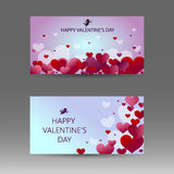 Happy Valentine`s day banner with white, red and pink hearts. Vector background. Stock Images