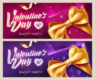 Happy Valentine`s Day banners. Top view on gift box and bow with beautiful backdrop. Vector illustration Royalty Free Stock Image