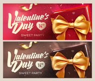 Happy Valentine`s Day banners. Top view on gift box and bow with beautiful backdrop. Vector illustration Royalty Free Stock Photo