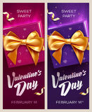 Happy Valentine`s Day banners. Top view on gift box and bow with beautiful backdrop Royalty Free Stock Photo
