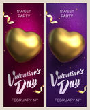 Happy Valentine`s Day banners. Top view on golden heart with beautiful backdrop Stock Photos
