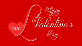 Happy Valentine`s Day - big first letter and small hearts on a red background stock illustration