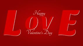 Happy Valentine`s Day - Big love on the red background vector illustration