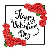Happy Valentine s Day. Black Frame, Red roses. Stock Photos