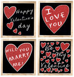Happy Valentine s Day on Blackboard royalty free stock image